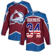 Wholesale Cheap Adidas Avalanche #34 Carl Soderberg Burgundy Home Authentic USA Flag Stitched NHL Jersey