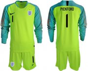 Wholesale Cheap England #1 Pickford Shiny Green Long Sleeves Goalkeeper Soccer Country Jersey