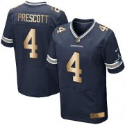 Wholesale Cheap Nike Cowboys #4 Dak Prescott Navy Blue Team Color Men's Stitched NFL Elite Gold Jersey