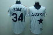 Wholesale Cheap Mitchell and Ness Astros #34 Nolan Ryan Stitched White Throwback MLB Jersey
