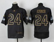 Wholesale Cheap Nike Seahawks #24 Marshawn Lynch Black Gold No. Fashion Men's Stitched NFL Elite Jersey