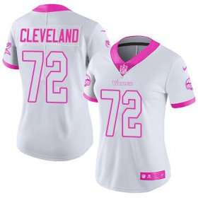 Wholesale Cheap Nike Vikings #72 Ezra Cleveland White/Pink Women\'s Stitched NFL Limited Rush Fashion Jersey