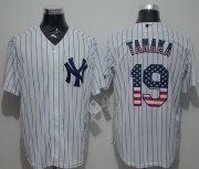 Wholesale Cheap Yankees #19 Masahiro Tanaka White Strip USA Flag Fashion Stitched MLB Jersey