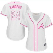 Wholesale Cheap Braves #24 Deion Sanders White/Pink Fashion Women's Stitched MLB Jersey