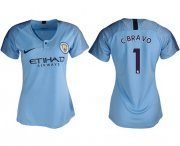 Wholesale Cheap Women's Manchester City #1 C.Bravo Home Soccer Club Jersey