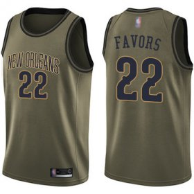 Wholesale Cheap Pelicans #22 Derrick Favors Green Basketball Swingman Salute to Service Jersey