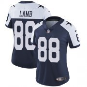 Wholesale Cheap Nike Cowboys #88 CeeDee Lamb Navy Blue Thanksgiving Women's Stitched NFL Vapor Throwback Limited Jersey