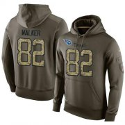 Wholesale Cheap NFL Men's Nike Tennessee Titans #82 Delanie Walker Stitched Green Olive Salute To Service KO Performance Hoodie