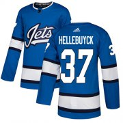 Wholesale Cheap Adidas Jets #37 Connor Hellebuyck Blue Alternate Authentic Stitched NHL Jersey