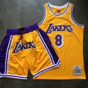 Wholesale Cheap Lakers 8 Kobe Bryant Yellow 1996-97 Hardwood Classics Jersey(With Shorts)