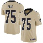 Wholesale Cheap Nike Saints #75 Andrus Peat Gold Men's Stitched NFL Limited Inverted Legend Jersey