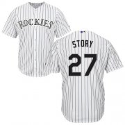 Wholesale Cheap Rockies #27 Trevor Story White Cool Base Stitched Youth MLB Jersey