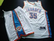 Wholesale Cheap Oklahoma City Thunder 35 Kevin Durant white color Basketball Suit