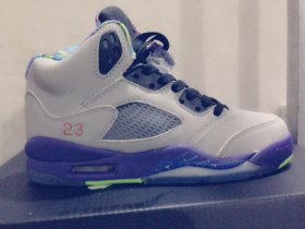 Wholesale Cheap Air Jordan 5 For Womens Shoes gray/blue-green-pink