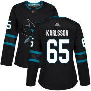Wholesale Cheap Adidas Sharks #65 Erik Karlsson Black Alternate Authentic Women's Stitched NHL Jersey