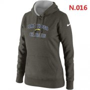 Wholesale Cheap Women's Nike San Diego Chargers Heart & Soul Pullover Hoodie Dark Grey