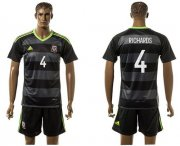 Wholesale Cheap Wales #4 Richards Black Away Soccer Club Jersey