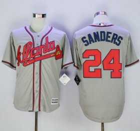 Wholesale Cheap Braves #24 Deion Sanders Grey New Cool Base Stitched MLB Jersey
