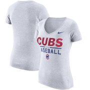Wholesale Cheap Chicago Cubs Nike Women's Practice 1.7 Tri-Blend V-Neck T-Shirt Heathered White