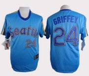 Wholesale Cheap Mariners #24 Ken Griffey Light Blue Cooperstown Throwback Stitched MLB Jersey