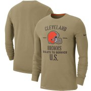 Wholesale Cheap Men's Cleveland Browns Nike Tan 2019 Salute to Service Sideline Performance Long Sleeve Shirt