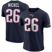 Wholesale Cheap New England Patriots #26 Sony Michel Nike Player Pride 3.0 Name & Number Performance T-Shirt Navy