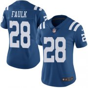 Wholesale Cheap Nike Colts #28 Marshall Faulk Royal Blue Women's Stitched NFL Limited Rush Jersey