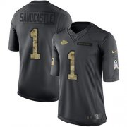 Wholesale Cheap Nike Chiefs #1 Leon Sandcastle Black Men's Stitched NFL Limited 2016 Salute to Service Jersey