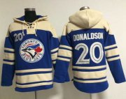Wholesale Cheap Blue Jays #20 Josh Donaldson Blue Sawyer Hooded Sweatshirt MLB Hoodie