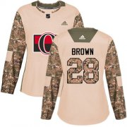 Wholesale Cheap Adidas Senators #28 Connor Brown Camo Authentic 2017 Veterans Day Women's Stitched NHL Jersey