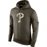 Wholesale Cheap Men's Philadelphia Phillies Nike Olive Salute To Service KO Performance Hoodie