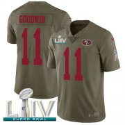 Wholesale Cheap Nike 49ers #11 Marquise Goodwin Olive Super Bowl LIV 2020 Men's Stitched NFL Limited 2017 Salute To Service Jersey