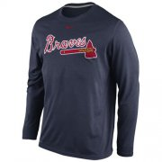 Wholesale Cheap Atlanta Braves Nike Legend Wordmark Long Sleeves Performance T-Shirt Navy
