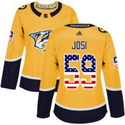 Wholesale Cheap Adidas Predators #59 Roman Josi Yellow Home Authentic USA Flag Women's Stitched NHL Jersey