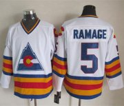 Wholesale Avalanche #5 Rob Ramage White CCM Throwback Stitched NHL Jersey