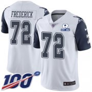 Wholesale Cheap Nike Cowboys #72 Travis Frederick White Men's Stitched With Established In 1960 Patch NFL Limited Rush 100th Season Jersey