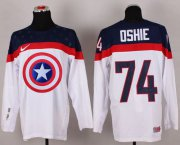 Wholesale Cheap Olympic Team USA #74 T. J. Oshie White Captain America Fashion Stitched NHL Jersey