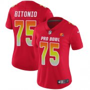 Wholesale Cheap Nike Browns #75 Joel Bitonio Red Women's Stitched NFL Limited AFC 2019 Pro Bowl Jersey