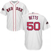 Wholesale Cheap Red Sox #50 Mookie Betts White Cool Base 2018 World Series Champions Stitched Youth MLB Jersey