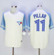 Wholesale Cheap Blue Jays #11 Kevin Pillar Cream/Blue Exclusive New Cool Base Stitched MLB Jersey