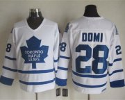 Wholesale Maple Leafs #28 Tie Domi White CCM Throwback Stitched NHL Jersey