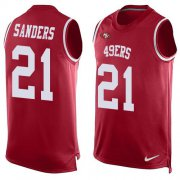 Wholesale Cheap Nike 49ers #21 Deion Sanders Red Team Color Men's Stitched NFL Limited Tank Top Jersey
