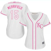 Wholesale Cheap Royals #15 Whit Merrifield White/Pink Fashion Women's Stitched MLB Jersey