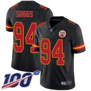 Wholesale Cheap Nike Chiefs #94 Terrell Suggs Black Youth Stitched NFL Limited Rush 100th Season Jersey