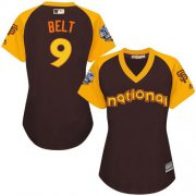 Wholesale Cheap Giants #9 Brandon Belt Brown 2016 All-Star National League Women's Stitched MLB Jersey