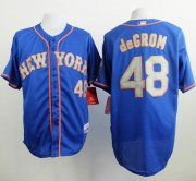 Wholesale Cheap Mets #48 Jacob DeGrom Blue(Grey NO.) Alternate Road Cool Base Stitched MLB Jersey