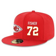 Wholesale Cheap Kansas City Chiefs #72 Eric Fisher Snapback Cap NFL Player Red with White Number Stitched Hat