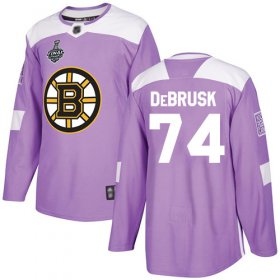Wholesale Cheap Adidas Bruins #74 Jake DeBrusk Purple Authentic Fights Cancer Stanley Cup Final Bound Stitched NHL Jersey