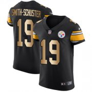 Wholesale Cheap Nike Steelers #19 JuJu Smith-Schuster Black Team Color Men's Stitched NFL Elite Gold Jersey