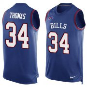 Wholesale Cheap Nike Bills #34 Thurman Thomas Royal Blue Team Color Men's Stitched NFL Limited Tank Top Jersey